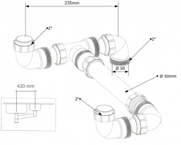 Ablaufverbindung doppelsp le 2 2 50 anschlu - Waschmaschinenanschluss wand ...