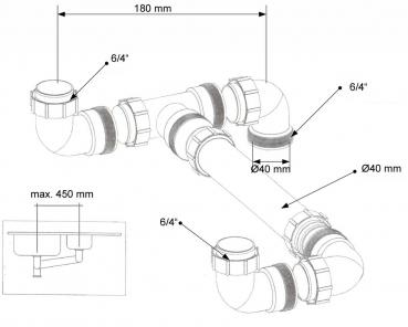 Ablaufverbindung doppelsp le 6 4 6 4 40 - Waschmaschinenanschluss wand ...
