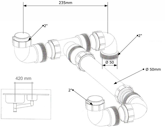 Ablaufverbindung Doppelspüle 2\