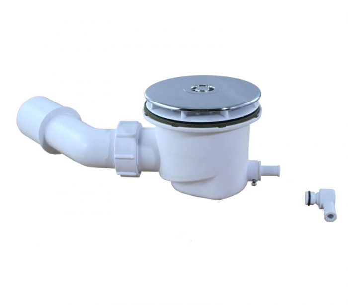 Mcalpine Duschsifon Ø90 mit Restwasser-Zulauf, Bauhöhe 83mm SP-HC27-ST-CP