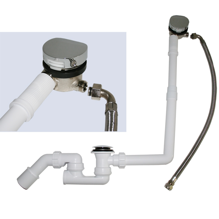 Mcalpine Wannen Ablauf / Überlauf-Garnitur mit Mischwasserzulauf SP-HCN3065CC