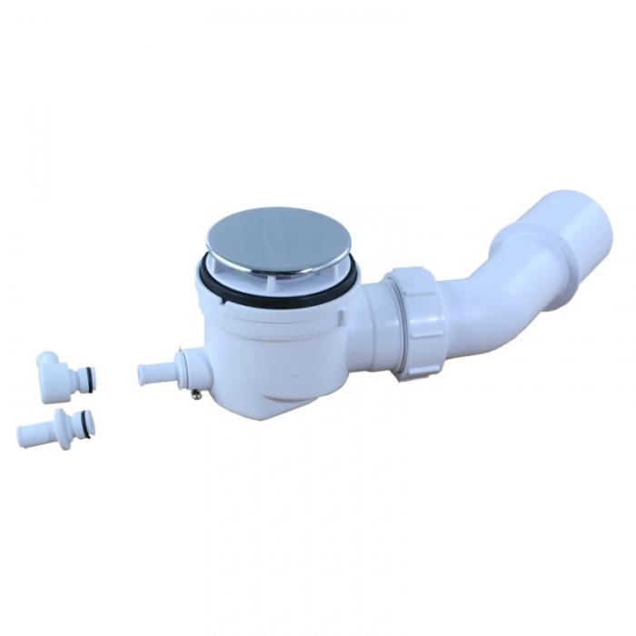 Mcalpine Duschwannensiphon Ø50-55 mit Restwasser-Zulauf, Bauhöhe 67mm SP-HC252570B-ST